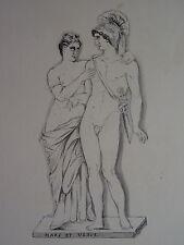 Auguste MACKER (XIX) DESSIN ENCRE MARS VENUS STATUE SCULPTURE ALSACE c. 1840