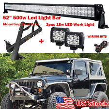 "Fit for 07-15 Jeep Wrangler JK Mount Brackets 50"" 500W+ 2×18W Led Cree Light Bar"