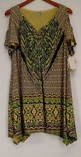 One World Plus Size Top 2X Printed Embellished Cold Shoulder Tunic Yellow NEW