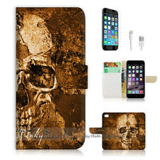 iPhone 7 PLUS (5.5') Flip Wallet Case Cover P1421 Skull