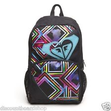 Roxy CLEAR SIGHT Black Multi Colored Mesh Side Pockets Discount Daypack Backpack
