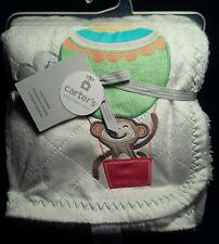 Carters Cozy Plush Ivory Baby Blanket Monkey in hot air balloon