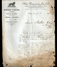 """COSNE-sur-LOIRE (58) HOTEL-RESTAURANT du LION D'OR """"PIERRE-TILLIER"""" en 1906"""