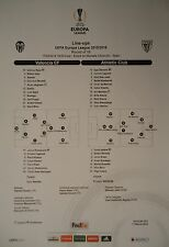 Line-ups UEFA EL 2015/16 Valencia CF - Athletic Club Bilbao