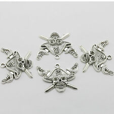 5pcs Retro Fashion Tibet silver Pirate Skull saber Head Necklace Charms Pendants