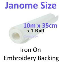 JANOME SIZE EMBROIDERY BACKING STABILISER 10m x 35cm iron on - tear away