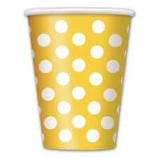 6 Yellow White Polka Dot Spot Style Birthday Party 12oz Disposable Paper Cups