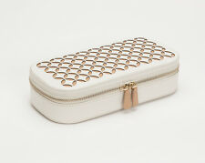 WOLF Chloé Zip Cream Leather Travel Jewelry Case 301253