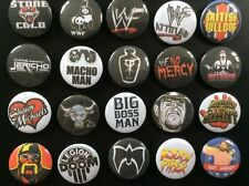 Retro WWE (WWF) Button Badges x 20. Pins. Wholesale. Collector. Bargain :0)