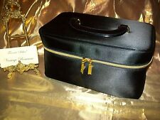 Estee Lauder Black Satin Cosmetic Travel Case with Gold tone Hardware Brand NEW