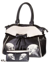 Banned Skull Roses Gothic Faux Leather Shoulder Bag Handbag & Wallet Set Black