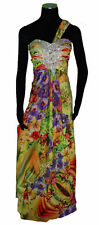 Betsy & Adam Jeweled Multi Floral Print One Shoulder Prom Formal Evening Gown, 4