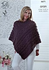 KNITTING PATTERN Ladies/Girls V-Neck Multi Cable Poncho Aran KC 4671