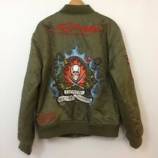 Rare Ed Hardy MA-1 Military Patch Flight Jacket Mens SZ 2XL Bomber Embroidered