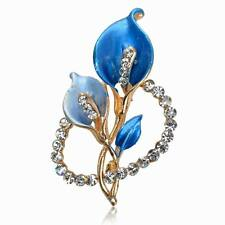 Blue Enamel Rhinestone Gemstone Elegant CZ Flower Breastpin Pin Brooch Bouquet