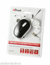 NEW TRUST BLACK & WHITE NANOU OPTICAL USB MICRO MOUSE WITH RETRACTIBLE LEAD