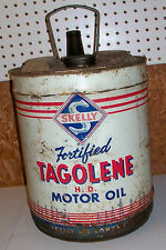 Big Old Oil Can Skelly Tagolene Motor Co 5 Gallon Gas Filling Station Vintage