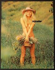 VINTAGE PINUP POSTER TOPLESS BABE + HIPPIE FLOWER GIRL PRINT EROTIC NUDE ART