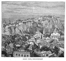 BULGARIA View of Nebet Tepe, Plovdiv - Antique Print 1885