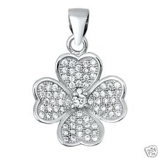 Lucky Four-Leaf Clover Pendant with Cubic Zirconia Sterling Silver 925 Jewelry