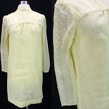 Vintage 60s Cotton Gauze Lemon Yellow Embroidered Babydoll Shift Dress S