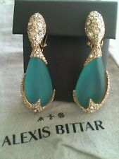 Alexis Bittar Desert turquoise Lucite Swarovski Crystal Drop Clip Earrings $295+