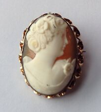 VINTAGE ART DECO GOLD FILLED SHELL CAMEO BROOCH PENDANT H3