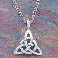 925 sterling silver CELTIC CIRCLE OF LIFE Irish Charm TRIQUETRA Pendant Necklace
