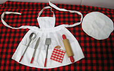 1959 VINTAGE BARBIE~WHAT`S COOKING? ~Orig. White Apron+Hat~Rolling Pin-Utensils!