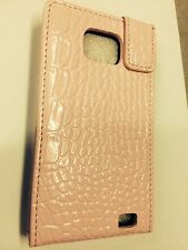 Samsung Galaxy SII i9100 Fitted Leather Flip Case Crocodile Skin Pink.Brand New.