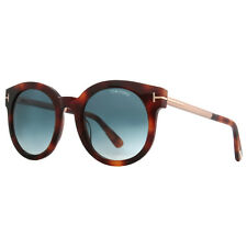Tom Ford Janina TF 435 52P Havana Brown/Rose Gold Blue Gradient Round Sunglasses