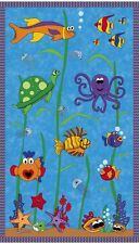 Under The Sea Whimsical Sealife 100% Cotton Quilting Fabric Panel Wall Hanging