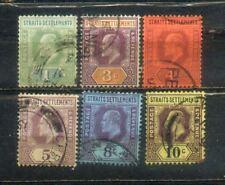 1902 Malaya Malaysia Straits Settlements KEVII 1c to 10c CV  Rm 27.30