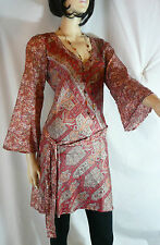 Indian Tunic Top Kaftan Kurta Sari Long Top Ethnic Boho Floaty Size 12 Festival