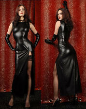 SEXY PVC WET LOOK CATSUIT FAUX LEATHER LONG EVENING DRESS & GLOVES SIZE 8--12