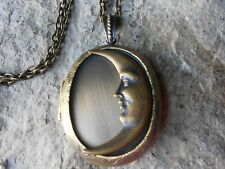 BRONZE CRESCENT MOON WITH FACE LOCKET - ANTIQUE BRONZE