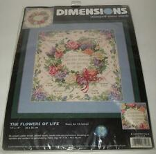 Dimensions Stamped Cross Stitch Kit THE FLOWERS OF LIFE Grandchildren Wreath NEW