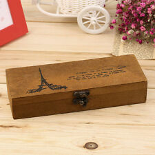 Vintage Eiffel Tower Wood Wooden Pen Pencil Case Holder Stationery Box Practical