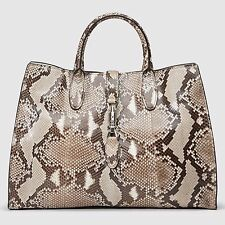 Gucci Women's Jackie Soft Python Top Handle Bag, Beige Python Color, MSRP $3,990