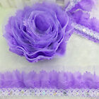 New 5Yrds 4-layer 55MM Width Purple Pleated Trim Mesh Lace Sewing Sequin Trim