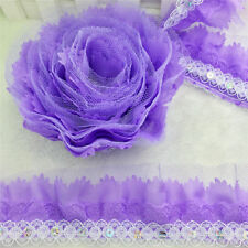 NEW Hot 5 Yrds 4-layer 55MM Pleated Trim Mesh Lace Sewing Sequin Trim Purple