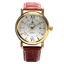 ORKINA Classic Brown Strap Wrist Date Day Watch White Face Women's Elegant Charm