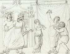 Scène Comique Antique Antiquité Théatre Masques Gravure originale XIXème