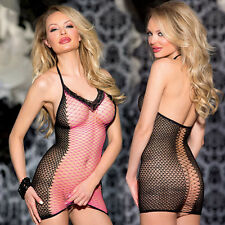 Fishnet Babydoll Dress Set Sexy Lingerie Underwear open crotch BODYSTOCKING O116