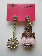 NWT Auth Betsey Johnson Pink Robot Ballerina Flower Mismatch Dangle Earrings