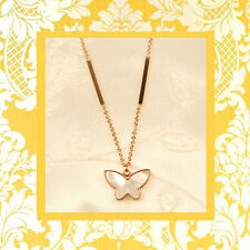 "CC20140 - Eye catching ""rose gold"" stainless steel pendant with little butterfly"