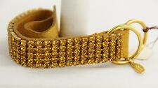ESTATE Jewelry JOAN RIVERS LEATHER & CRYSTAL BELT BRACELET  GOLDEN YELLOW - 8""