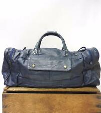 VINTAGE Large Oversize Navy Blue Leather Travel Duffel Weekender Holdall Bag