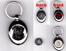 BLACK PUG PUPPY DOG TROLLEY COIN TOKEN KEYRING - ANIMAL PET LOVER PHOTO GIFT