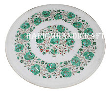 "12"" Marble White Round Plate Malachite Floral Work Inlaid Table Decor Gift H2567"
